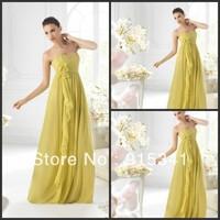 Soft Hot Sale Empire Sweetheart Chiffon Long Ruffles Free Shipping Yellow Bridesmaid Dresses 2013