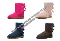 int'l Brand Genuine Leather 100% Wool lining 3280 warm women winter mid-calf  snow boot,Austrlia Suede Rubber soft boot shoes
