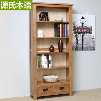 Bookshelf bookcase solid wood oak study furniture wood with drawer bookshelf