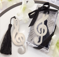 Wedding Favor - 100PCS/LOT Musical Note Metal Bookmark Baby Gift Book Mark, With White Tassel Festival Christmas Gift