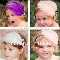 New Arrivals Children Head dress Baby Girl's Beautiful Feather Headband Elastic hairband Headwear 10 pcs lot TY4016