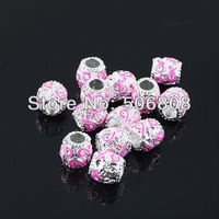 30PCS/LOT Pink Ribbon Enamel Silver Plated Big Hole European Beads Awareness Rondelle Fit Charms Bracelet