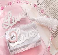 Wedding Favor - 100PCS/LOT Lovely LOVE Metal Bookmark Baby Gift Book Mark, With White Tassel Festival Christmas Gift