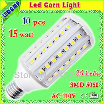 86 leds 5050 smd led light bulb e27 15w ac 110v corn light bulb lamp cool white 360 degree 10 pcs/lot free shipping