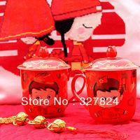 free shipping Wedding gift mug  married tea personalized cup Wedding anniversary gift red bone china mug