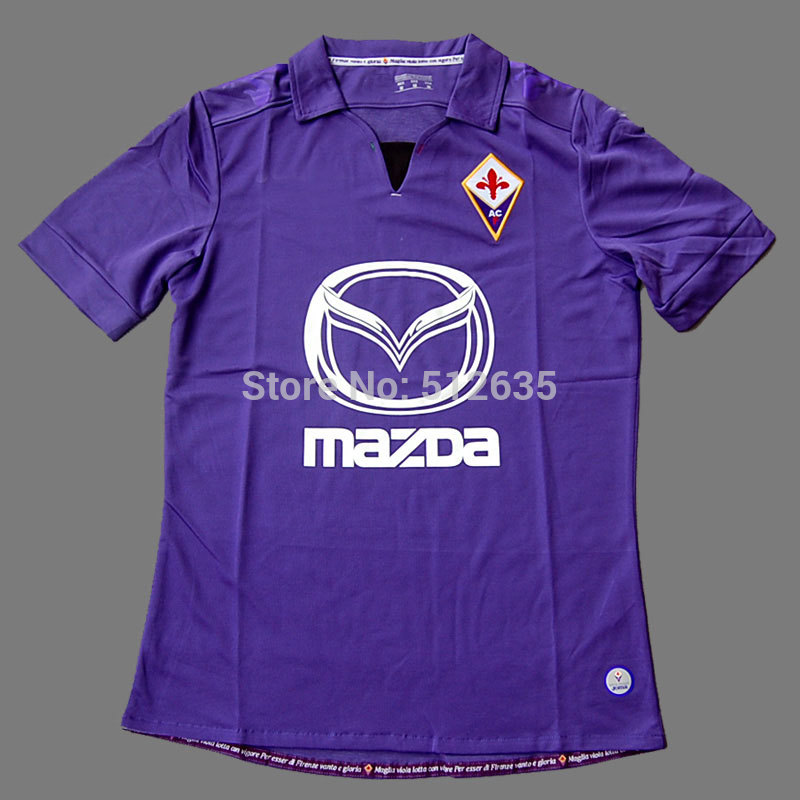 Free shipping 2014 Best thailand quality Italy ACF Fiorentina home soccer jersey 13 14 uniform embroidery LOGO Can customized(China (Mainland))