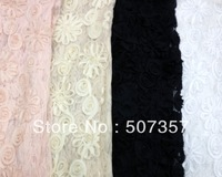 Wholesale Sunflower 3D chiffon fabric / mesh with embroidered bud lace fabric yarn wedding dress A219