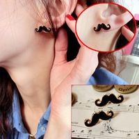 1 Pair Free Shipping Fashion Jewelry Vintage Sexy Beard Stud Earrings Lovely Mustache Earring D255