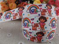 2013 new arrival 7/8'' (22mm) dora the explorer printed grosgrain ribbon rainbow grosgrain ribbon cartoon ribbon 10 yards