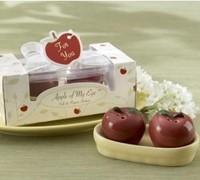 Wholesale DHL Free Shipping 200 Pcs=100SetsLot 2Pcs/Set Ceramic Red Apple Salt & Pepper Shaker Wedding Favor Gift