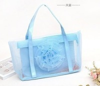 Free shipping  jelly  candy color  portable beach summer  women's  flower gauze  handbag  Transparent bags clutch beach bag tote