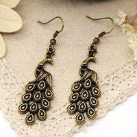 Min order $15 new fashion  retro peacock long earrings for women 2013 free shipping cheap jewelry wholesale