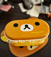 Free shipping 2pcs/lot  Relax Bear heat preservation lunch box Rilakkuma Bento with Chopsticks hot selling