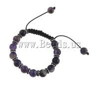 Free shipping!!! Shamballa Bracelets,Men Jewelry, Amethyst, with Wax Cord & Brass, with rhinestone, 10mm, Length:7 Inch