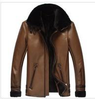 Aristocracy Luxurious 2013 Men 100 Leather Coat & Jacket Suede Winter Mens Brand Designer Parka Black man Fur Jackets XXL XXXXL