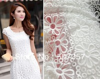 Wholesale Organza embroidery fabric / water soluble lace dress skirt fabric / yellow A236