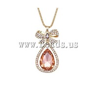 Free shipping!!!Sweater Chain Necklace,Wholesale Jewelry, Zinc Alloy, with Crystal, Teardrop, gold color plated