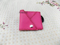 Cowhide handmade sewing coin purse bevel cowhide genuine leather card rose coin case