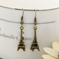 Min order $15 new fashion jewelry Eiffel Tower charms earrings for women 2013 free shipping factory wholesale
