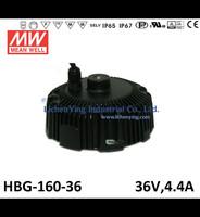Mean Well 36V 4.4A LED high low bay lighting Driver spot lighting power supplies circular shape HBG-160-36 LED Power Supply