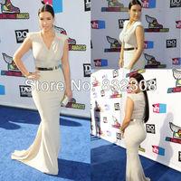 Customize Kim Kardashian V Neck Cap Sleeves Sheath Chiffon Free Shipping Evening Red Carpet Dresses
