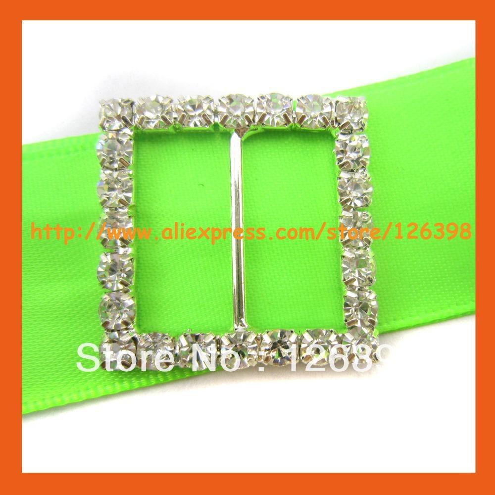 200pcs Lot 28mm Rhinestone Ribbon Buckle Slider Wedding