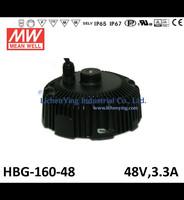 Mean Well 48V 3.3A LED high low bay lighting Driver spot lighting power supplies circular shape HBG-160-48 LED Power Supply