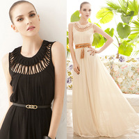 New Formal O-neck Party evening dress Floor-length elegant  chiffon evening dress whitout  belt  Free Shipping