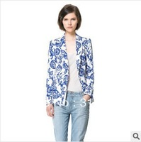 Freeshipping New2013 women's elegant blue porcelain floral print casual blazer coats outerwears jackets for women OL casual coat