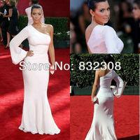 Customize One-Shoulder Long Sleeve White Elastic Dress Kim Kardashian Dresses Celebrity Dresses