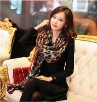 2013 fall new designer women Super beautiful Leopard Long Wrap Scarf  fashion rose red Shawl Silk Chiffon Gauze Shawl