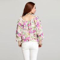 Among the loose bat sleeve sexy small blouse printing 95012