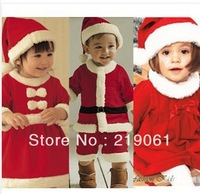 FREE SHIPPING Christmas gift baby girl Lovely Santa Claus Clothing With Cap / baby skirts,Chiristmas dressGQ-277