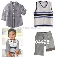 342 retail spring&autumn black plaid shirt+vest+pant baby boy's suits
