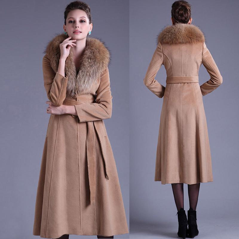 2016 Wholesale Falll New Womens Xxxl Wool Coat  Female Long Camel