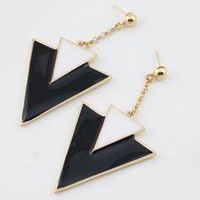 Fashion classic punk earrings triangle black and white drop earrings retro statement earrings free shipping