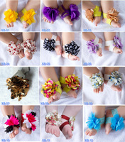 Hot Fashion 2013 New Baby's Foot Accesories Infant baby's Barefoot Sandals Flower Foot Chain 10 pairs lot TY4025