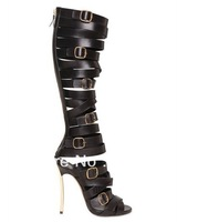 2013 New Design Women Peep Toe Black Genuine Leather High Heel Gladiator Boots