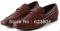 2014 Classic Plaid Handcraft  Top Quality  Flat Dress Shoes  For Men Genuine Leather Oxford