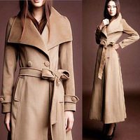 Fall Winter Womens Double Breasted Wool Coat , Female Big Turn Down Collar Cashmere Overcoat , The Long sleeve Coats for Woman