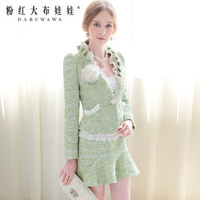 Green ubiquitous xiangpin pressure pleated white tweed short jacket 8.28