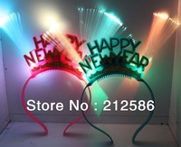 Wholesale LED glow fiber red blue double head flashing headband Happy New Year,party bar Christmas gift supplier,free shipping