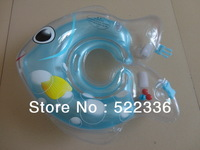 Free shipping New design hot selling fish green inflatable infant swimming float neck ring for baby
