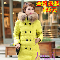2013 winter large double breasted fur collar fashion slim medium-long thickening down coat women  outerwear  women's down jacket