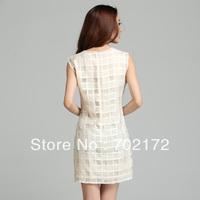 Eugen yarn embroidered Plaid sleeveless slim women dress 69019