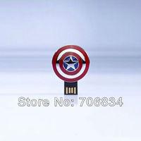 Free shipping Full Capacity Avengers Captain America Shield Metal USB 2.0 Flash Drive Memory Stick Pen Drive 4GB/8GB/16GB/32GB