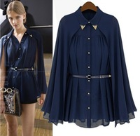 2014 New  Women's High Street Famous Casual Brand Cape Style Design Single-breasted Chiffon Blouse Navy/Apricot(With Belt)