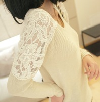 2013 autumn loose medium-long lace low basic o-neck shirt female sweater