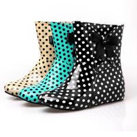 2013 designer rain boots women,womens bow rain boots  polka dot rainboots female yellow rain boots for girls plus size Us 9-12