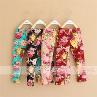 Wholesale 5 pcs/lot  nowbelle princess pants girls floral leggings casual pants for girls 4colors autumn and winter